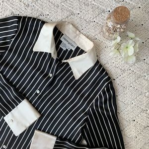 Bloomingdales 100% Silk Button-down Striped Blouse